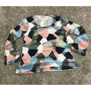 One World L Top Geometric Long Sleeve Knit